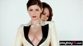 Colossal Boobed Amateur Lesbian Romantic Strip Show